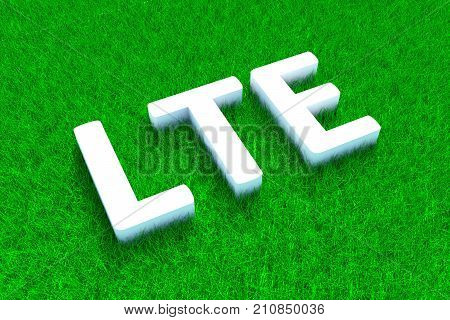 LTE green grass meadow background 3d illustration