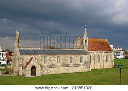 Storm clouds over the Royal Garrison Church, Portsmouth