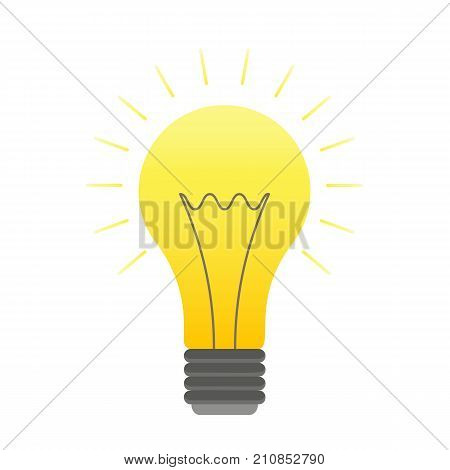 Vector color lightbulb icon, bright cartoon bulb. Orange lightbulb with lights logotype, idea symbol