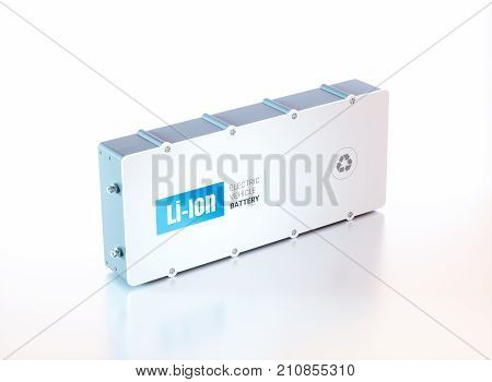 Lithium Ion electric vehicle battery. 3d rendering.