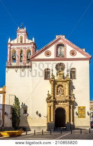 CORDOBA,SPAIN - OCTOBER 2,2017 - Saint John and All Saints church at the Trinidad place in Cordoba. Cordoba is a city in Andalusia southern Spain and the capital of the province of Cordoba.