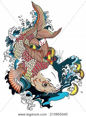 japanese carp koi gold fish swimming in a pond with feng shui money coins . Tattoo style vector illustration