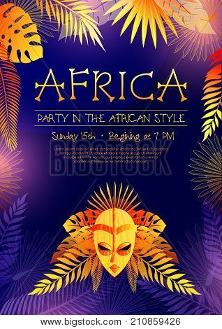 Vertical african poster with event announcement decorative images of ethnic mask tree leaves and editable text vector illustration