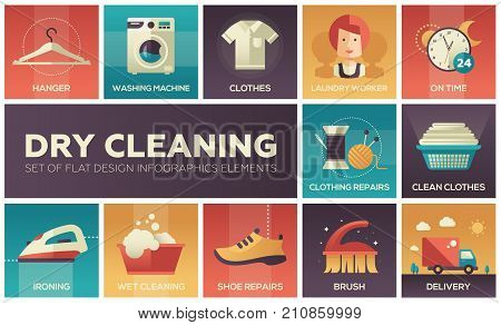 Dry cleaning - set of flat design infographics elements. High quality collection of icons. Hanger, washing machine, clothes, laundry worker, on time, shoe repairs, ironing, wet, delivery