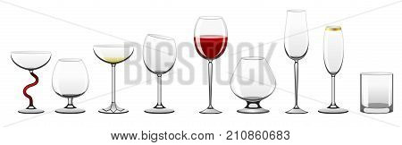 Stemware - realistic vector isolated clip art set of objects for different drinks on white background. Full, empty glasses for red, white wine, coctails, cognac, Martini, brandi, champagne, tumbler