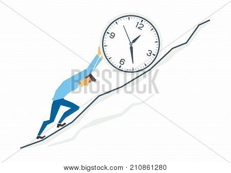 Uphill work in business - modern cartoon people characters illustration. A tired stressed man rolls a clock up the mountain as Sisyphus, fighting against time. Metaphorical concept of deadline