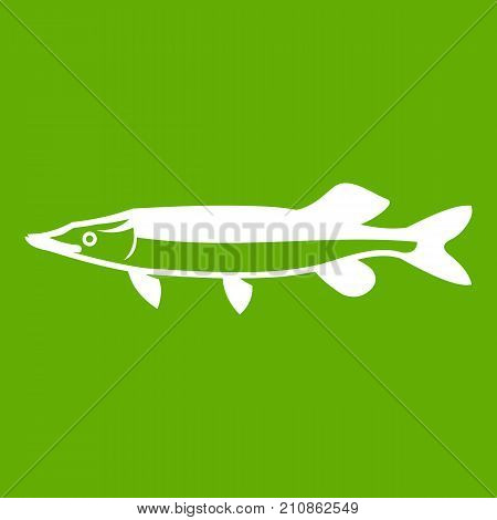 Saury icon white isolated on green background. Vector illustration