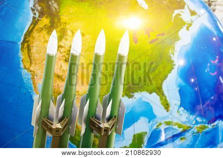 Race Of Weapons, Nuclear Weapons, The Threat Of War In The World. Rockets In The Background Of North