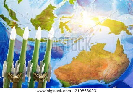 Race Of Weapons, Nuclear Weapons, The Threat Of War In The World. Rockets Against The Background Of
