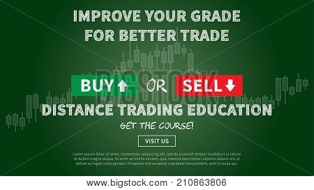 Online financial trading education vector illustration. Web banner remote education for traders graphic design. Promotion banner with dark green blackboard creative concept.