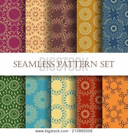Set of ten Ornamental seamless design. Effortless geometry patterns for printing web and textile design. Vector illustration.
