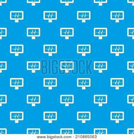 Electrocardiogram monitor pattern repeat seamless in blue color for any design. Vector geometric illustration