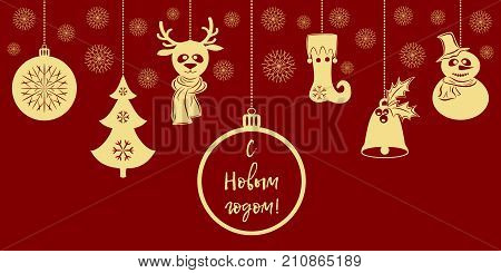 Gold Christmas pendants a bell with holly ball fir-tree snowflakes deer in scarf snowman in a hat stocking. Translation from Russian Happy New Year. Border isolated on red background. Vector