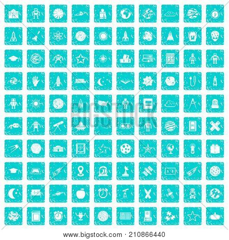 100 astronomy icons set in grunge style blue color isolated on white background vector illustration