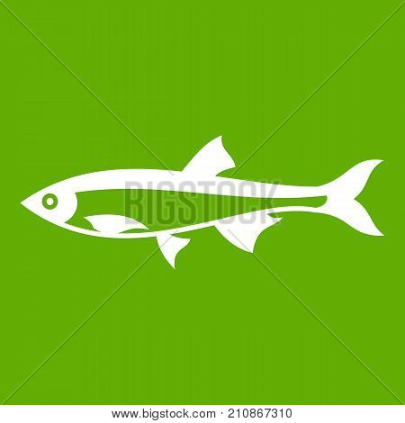 Herring fish icon white isolated on green background. Vector illustration