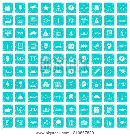 100 government icons set in grunge style blue color isolated on white background vector illustration