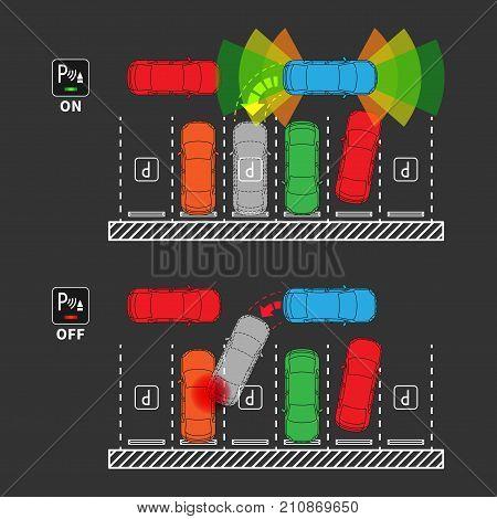 Parking assist system on-off vector illustration. Car with and without parktronic sensors line art concept. Smart car assistance autopilot outline graphic design. Sensors scanning free space