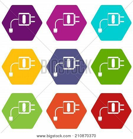 Mini charger icon set many color hexahedron isolated on white vector illustration