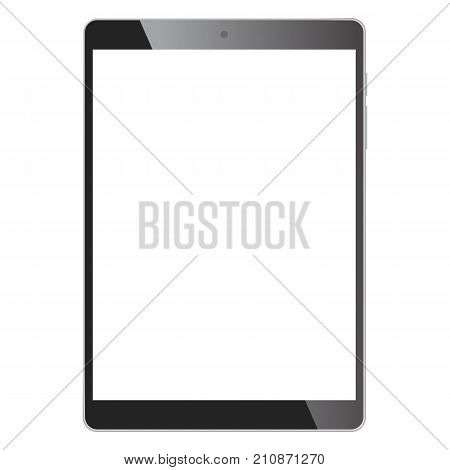 Realistic tablet portable computer. Contemporary black gadget. Graphic design element for catalog, web site, as blank mockup, demonstration template. Isolated on white background. Vector illustration.