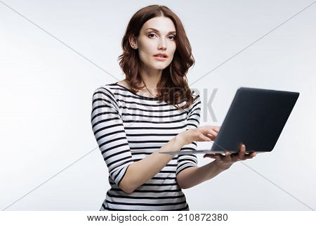 Complete finisher. Pleasant pretty auburn-haired woman in a striped pullover working on her laptop while posing isolated on a white background