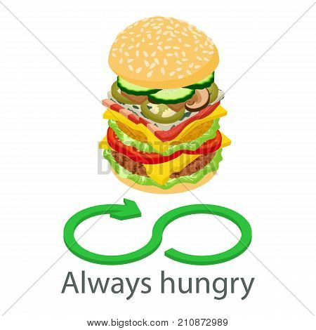 Always hungry icon. Isometric illustration of always hungry vector icon for web