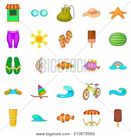 Easy life icons set. Cartoon set of 25 easy life vector icons for web isolated on white background