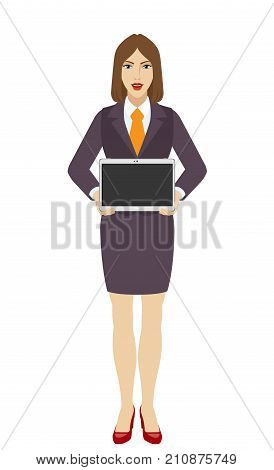 Businesswoman showing blank digital tablet PC. Full length portrait of businesswoman character in a flat style. Vector illustration.