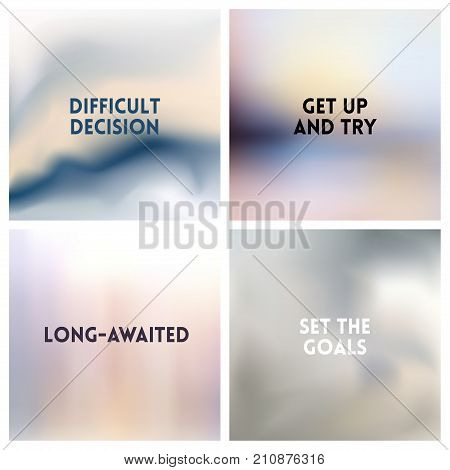 Abstract vector silvery gray white blurred background set. Square blurred backgrounds set - under sea ocean beach colors With love quotes poster