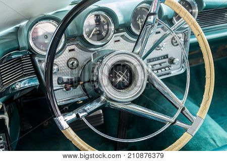 Vintage Lincoln Continental Car Interior - Steering Wheel With Logo And Dashboard
