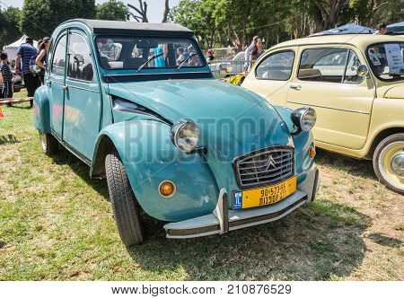 Citroen 2Cv Vintage Car Presented On Annual Oldtimer Car Show, Israel