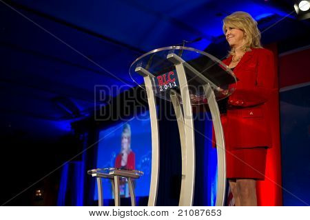 NEW ORLEANS, LA - JUNE 17: Sharon Day, Republican National Committee co-chair, addresses the Republican Leadership Conference on June 17, 2011 at the Hilton Riverside New Orleans in New Orleans, LA.
