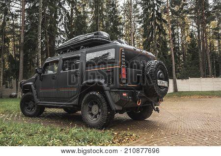 Black Hummer H2 Car Rear View