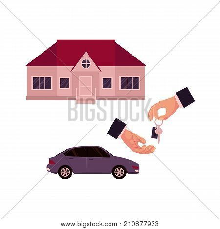 Male hands giving and taking a key, car and house, home, property purchase, rent, sale concept, cartoon vector illustration on white background. Male hands giving and taking key for house or car