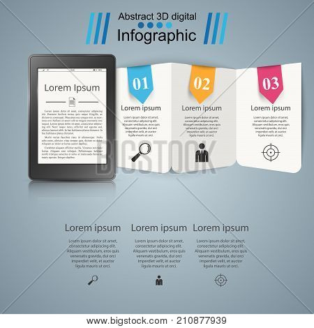 Ebook. book reader - business infographic. Vector eps 10