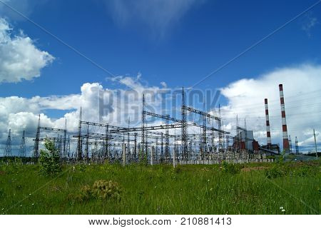 RUSSIA PERM - JUNE 12 2015: Electrical substation on thermal power station in Dobryanka Perm Krai