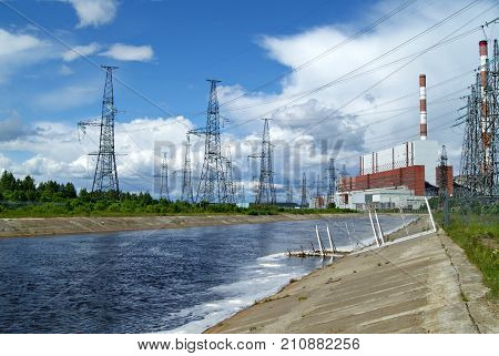RUSSIA PERM - JUNE 12 2015: spillway and building of machine room on thermal power station in Dobryanka Perm Krai Russia