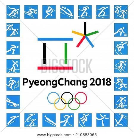 Kiev Ukraine - September 22 2017: Official logos of the 2018 Winter Olympic Games with kinds of sport in PyeongChang Republic of Korea from February 9 to February 25 2018 printed on paper