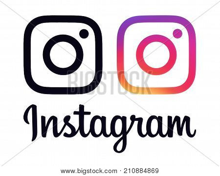 Kiev Ukraine - Octobaer 06 2017: Colletion if Instagram logos and icons printed on white paper. Instagram is an online mobile photo-sharing video-sharing service