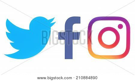 Kiev Ukraine - Octobaer 06 2017: Facebook Twitter and Instagram logos printed on white paper
