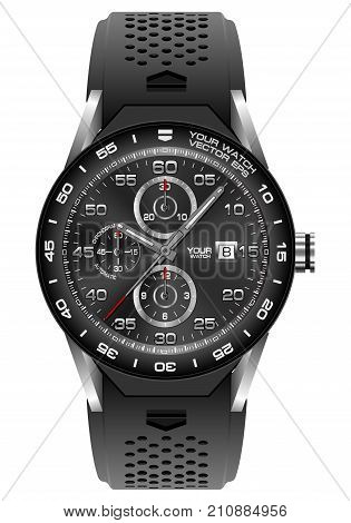 Black steel watch chronograph on white background vector illustration.