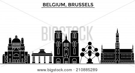 Belgium, Brussels architecture vector city skyline, black cityscape with landmarks, isolated sights on background