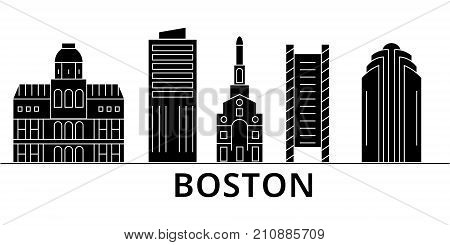 Boston architecture vector city skyline, black cityscape with landmarks, isolated sights on background