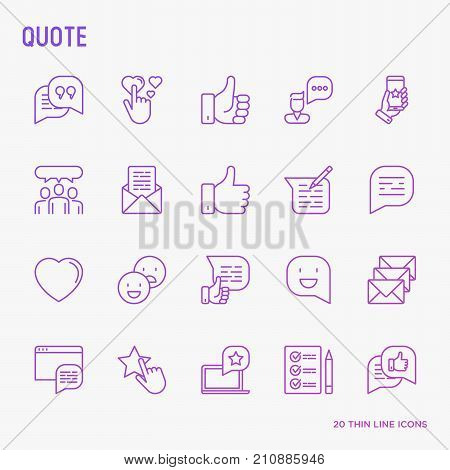 Testimonials and quote thin line icons set of review, feedback, survey, comment. Vector illustration for banner, web page, print media.