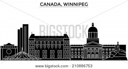 Canada, Winnipeg architecture vector city skyline, black cityscape with landmarks, isolated sights on background