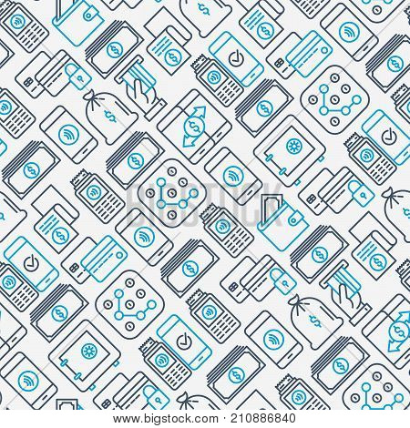 Payment seamless pattern with thin line icons related to credit card, money flow, saving, atm, mobile payment. Vector illustration of banner, web page, print media.