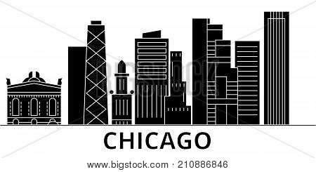 Chicago architecture vector city skyline, black cityscape with landmarks, isolated sights on background
