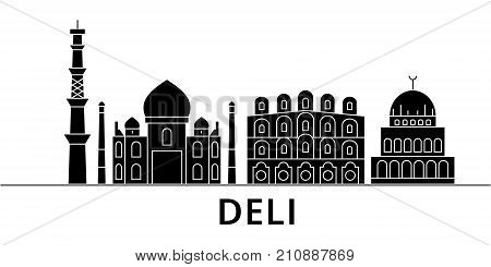 Deli architecture vector city skyline, black cityscape with landmarks, isolated sights on background
