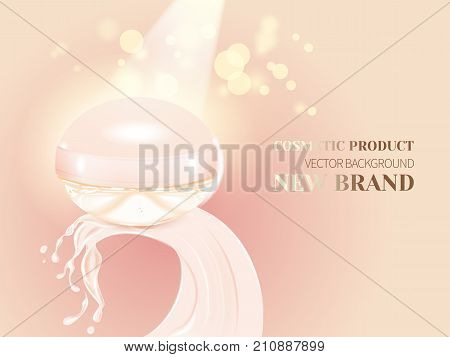 Realistic jar with crown creamy splashes.Advertising cosmetic cream, blur and bokeh background, sparkling effect.Design cosmetics product, 3d vector illustration.