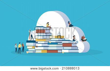 Flat design style web banner for online education, knowledge base, education cloud, ebooks. Vector illustration concept for web design, marketing, and print material.