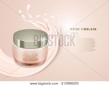 Realistic jar on cream background with crown creamy splashes.Advertising cosmetic cream.Design cosmetics product, 3d vector illustration.